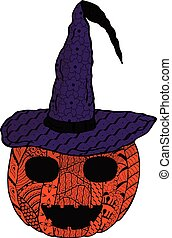 For Halloween. Smiling pumpkin in a witch's cap with patterns in Zenart style on a white background. Vector.