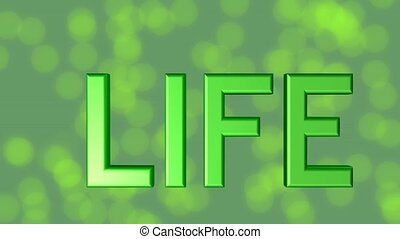 For life banner, green 3d letters, quality stars on green...