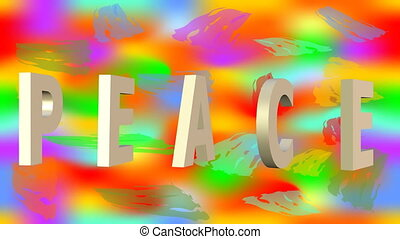 For peace animation with anti war symbol on rainbow background. 3d antiwar sign in hippies falling down on black background. 3D animated inscription peace. Full HD video 1920x1080