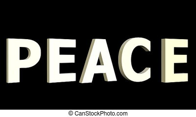 For peace animation with anti war symbole in rainbow colors. 3d antiwar sign in hippies style moving on black background, zooming. 3D animated inscription peace,