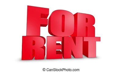 For Rent 3D Text on White Alpha Channel Green Screen. Advertising Promotion Discount Offer Sale 3D Animation Render.