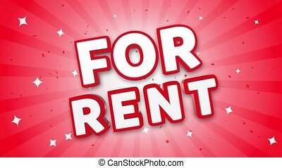 For Rent 3D Text on Falling Confetti Background.