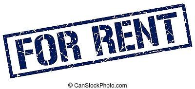 for rent blue grunge square vintage rubber stamp