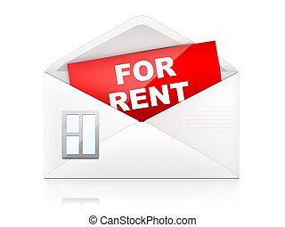For rent - Envelop in shape of house with paper inside. 2D...