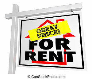 For Rent Great Price Real Estate Home House Sign 3d Illustration
