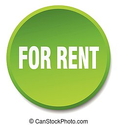 for rent green round flat isolated push button