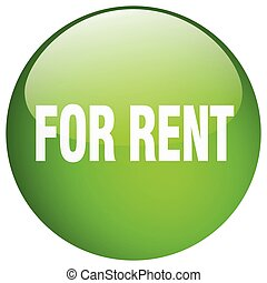 for rent green round gel isolated push button