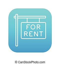 For rent placard line icon.