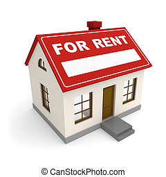 For rent - Real estate. House for rent. 3d rendered image