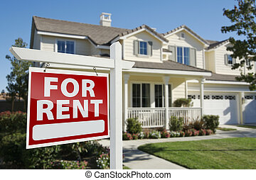 For Rent Real Estate Sign in Front of House - Right Facing...