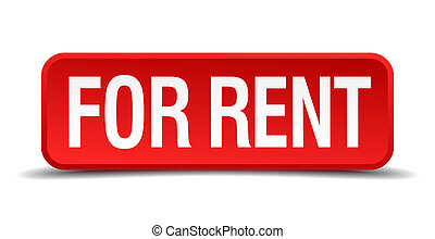 For rent red 3d square button isolated on white background