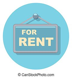 for rent sign circle icon with shadow