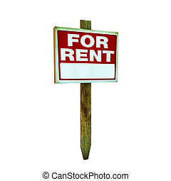 for rent sign isolated on white background