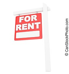 For rent sign lease real estate. 3D rendering.
