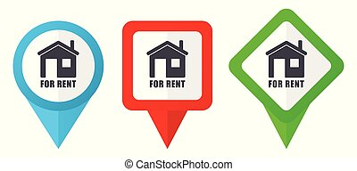 For rent sign red, blue and green vector pointers icons. Set of colorful location markers isolated on white background easy to edit