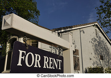 For Rent Sign with Blue Sky Background