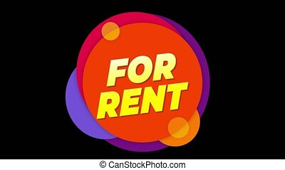 For Rent Text Sticker Colorful Sale Popup Animation. - For...