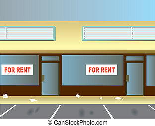 For Rent - Two vacant storefronts in a typical strip mall.