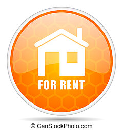 For rent web icon. Round orange glossy internet button for webdesign.