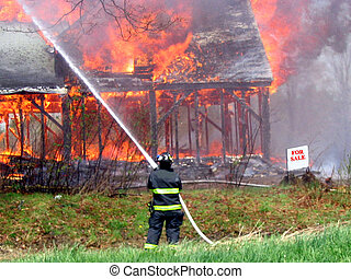 , a house fully involved in fire, with a dor sale sign in front of it, good humor.