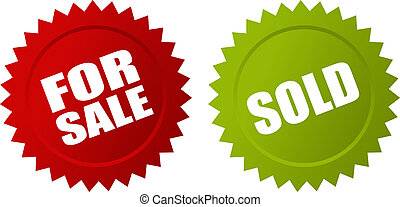 For sale and sold vector stars
