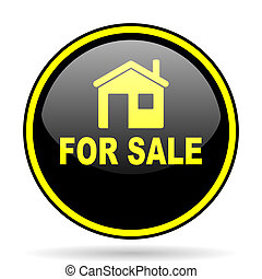 for sale black and yellow glossy internet icon