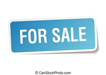 for sale blue square sticker isolated on white