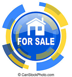 for sale blue yellow glossy web icon