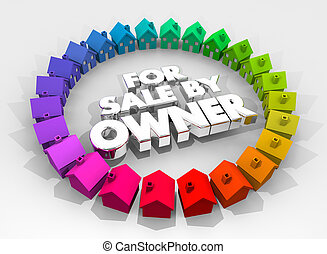 For Sale By Owner Houses Homes Real Estate 3d Illustration