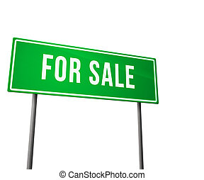 For Sale Green Road Sign Isolated on White