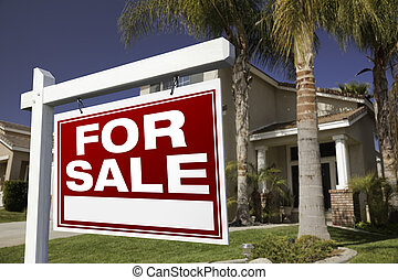 For Sale Real Estate Sign and House