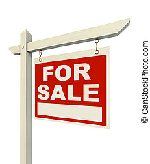 for sale real estate sign isolated on white background