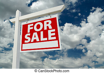 For Sale Real Estate Sign on Clouds & Sky Background - Ready...