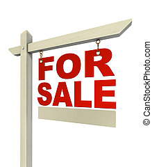 for sale red real estate sign only with letters