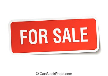 for sale red square sticker isolated on white