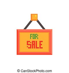 For Sale Sign 8-bit Abstract Primitive Flat Vector ...