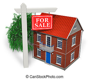 """For sale"" sign and new house"