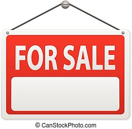 For sale sign board on a white background.
