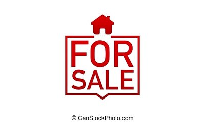For sale sign icon on white background. Motion graphics