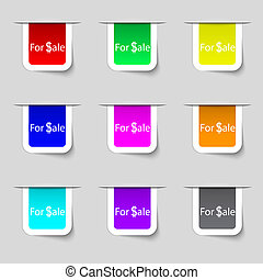 For sale sign icon. Real estate selling. Set of colored buttons.