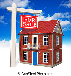"""""""For sale"""" sign in front of new hou"""