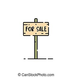 For sale sign line icon - Wooden for sale sign line icon. ...