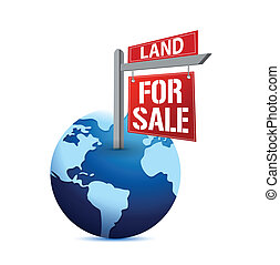for sale sign on planet Earth illustration