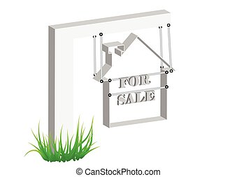 for sale sign. Real estate sign on white background