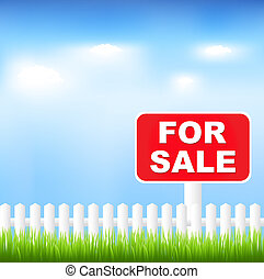 For Sale Sign With Grass And Blue Sky, Vector Illustration