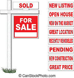 For Sale Sign With Interchangeable - Illustration of a for...
