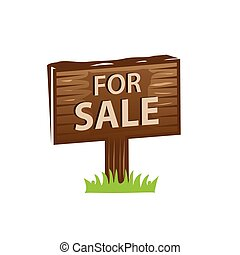 for sale sign - wooden sign for sale, icon design, isolated ...
