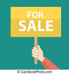 For sale sign. - Yellow For sale sign board in hand.