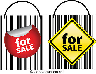 for sale signs designed as bar codes