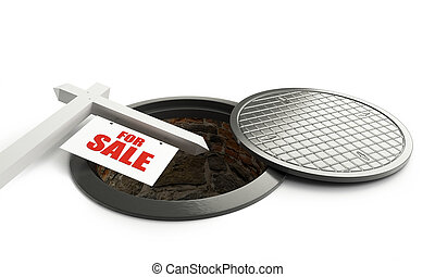 for sale street manhole open 3d Illustrations on a white background